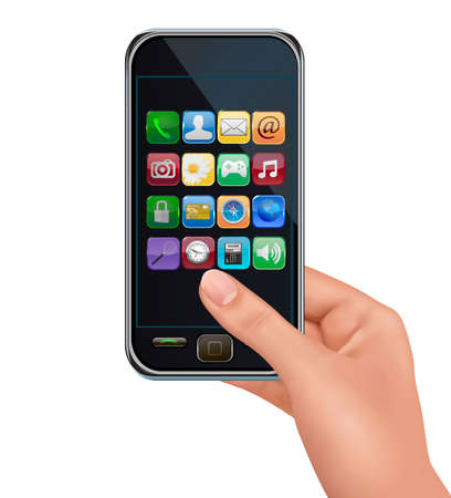 cellphone in hand: A hand holding touchscreen mobile phone with icons.