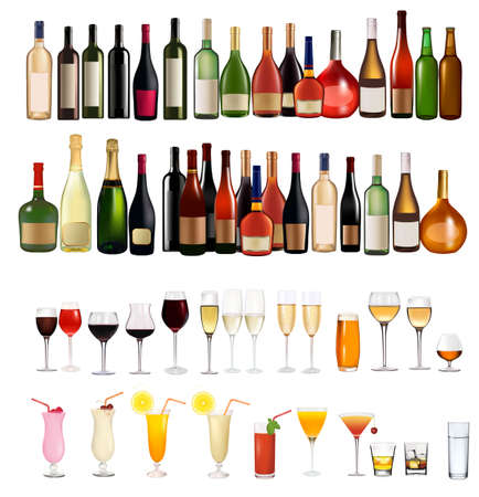 Set of different drinks and bottles. Vector illustration.