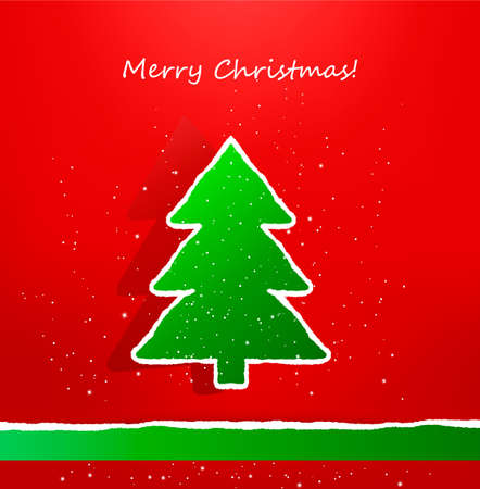 Christmas card with ripped paper tree.  Vector