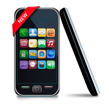 touchphone: Mobile or smart phone with icons.