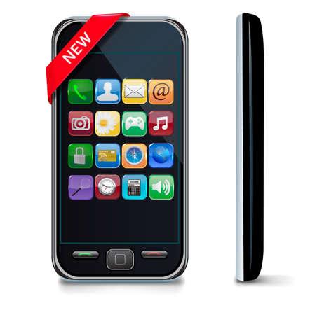 mobil: Mobile of smart phone met pictogrammen.
