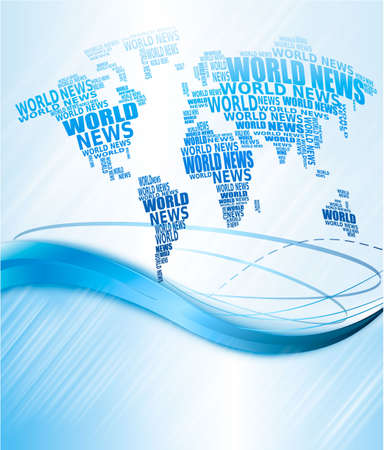 World news concept. Abstract world map made from World news words. Vector illustration. Stock Vector - 11145982