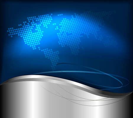 Affari elegante sfondo astratto con mappa del mondo. Illustrazione vettoriale