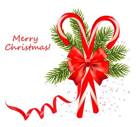 caramelos navidad: Red de Navidad del bast�n de caramelo con un lazo y cintas. Ilustraci�n vectorial.