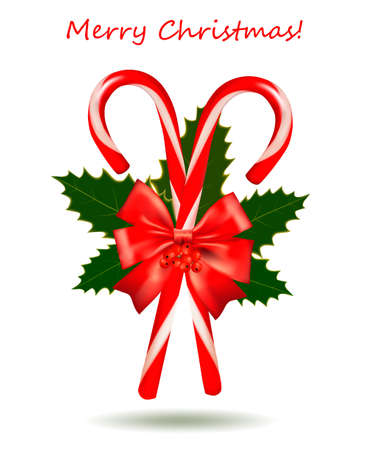Red Christmas candy cane with bow and ribbons. Vector illustration. Vector