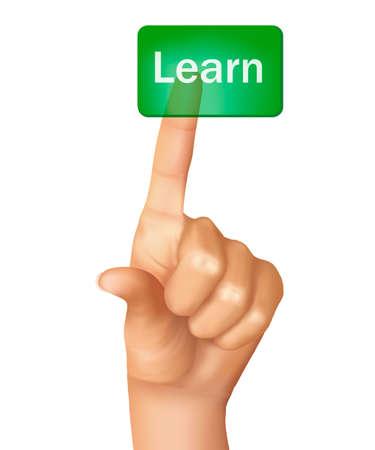 tecnologia virtual: Un dedo presionando bot�n de aprendizaje. Ilustraci�n vectorial.