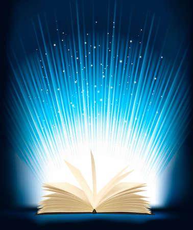 문학의: 마법의 빛 열린 마법의 책. 벡터 일러스트 레이 션.