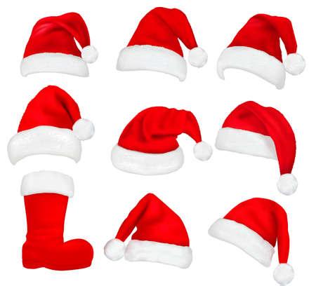 빨간 산타 모자와 부츠의 큰 집합입니다. 벡터 일러스트 레이 션.