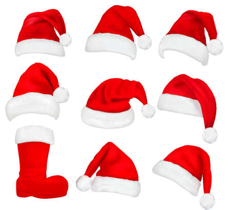 Big set of red santa hats and boot. Vector illustration.