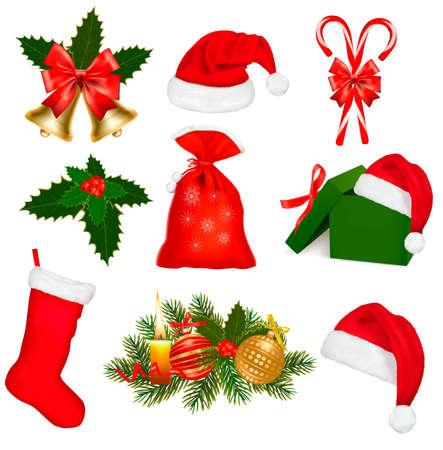 botas de navidad: Conjunto de objetos de Navidad. Ilustración vectorial.