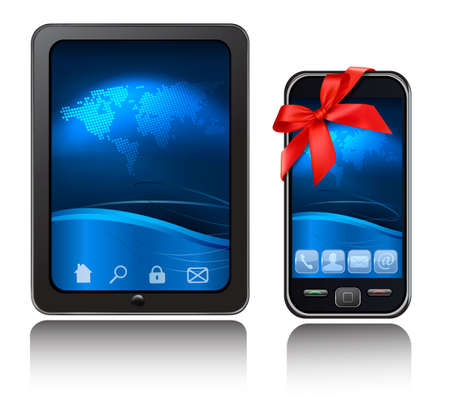 A tablet computer and mobile phone with blue background and icons with red riboons. Vector. Vector