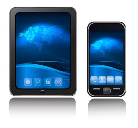 A tablet computer and mobile phone with blue background and icons. Vector. Vector