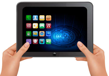 blank tablet: Hands holding digital tablet computer with icons. Vector illustration