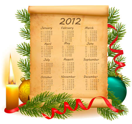 Old paper with calendar 2012. Vector illustration. Vector