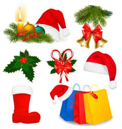 Set of Christmas objects. Vector.  Vector