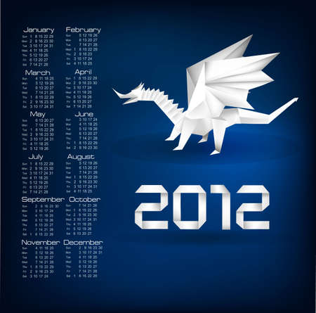 2012 year calendar with origami dragon. Vector.  Vector