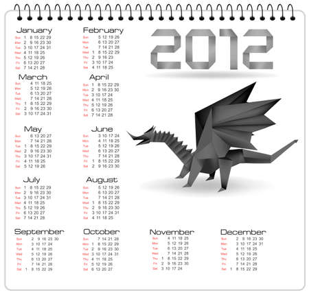 2012 year calendar with black origami dragon. Vector.  Vector
