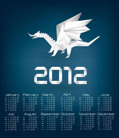 2012 year calendar with origami dragon. Vector.  Vector