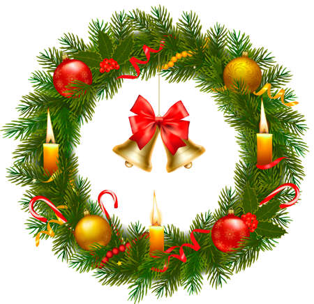 Christmas wreath with christmas tree and bell. Vector illustration  Ilustracja