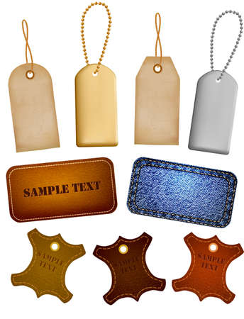 leather label: Set of leather and jeans labels and tags. Vector illustration Illustration