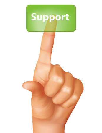 A finger pushing support button. Vector illustration.  Stock Illustratie