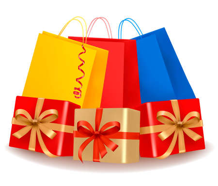 Collection of holiday shopping bags and gift boxes. Concept of christmas shopping. Vector Stock Vector - 11271342