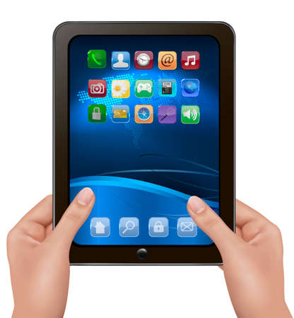 touch screen hand: Hands holding digital tablet computer with icons. Vector illustration
