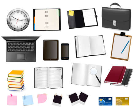 business supplies: A briefcase, notebooks and some office and business supplies. Vector.