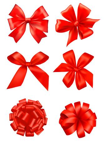 Big set of red gift bows with ribbons. Vector.  Vector
