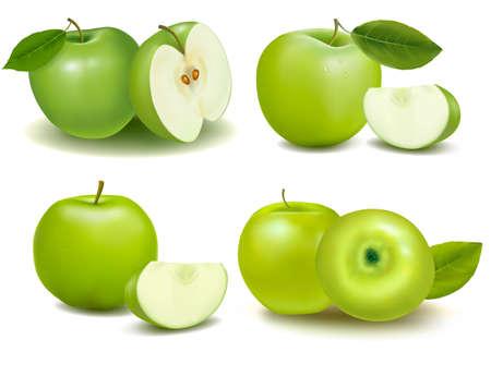 manzana verde: Conjunto de manzanas frescas verde con hojas verdes. Vector.