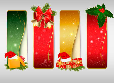 polly: Set of winter christmas backgrounds. Vector illustration