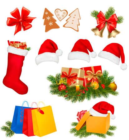 botas de navidad: Conjunto de iconos de la Navidad. Ilustración vectorial.