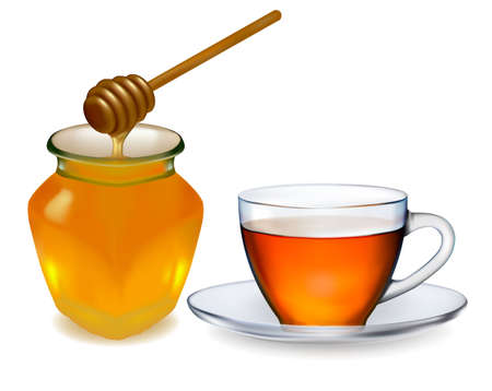 honey jar: Cup of tea with honey. vector illustration.