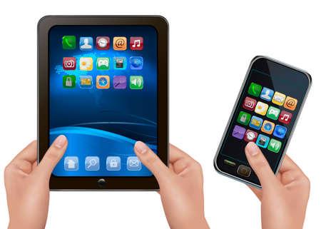 smartphone mano: Mani in possesso di computer digitale tablet con icone e telefono cellulare. Vector illustration Vettoriali