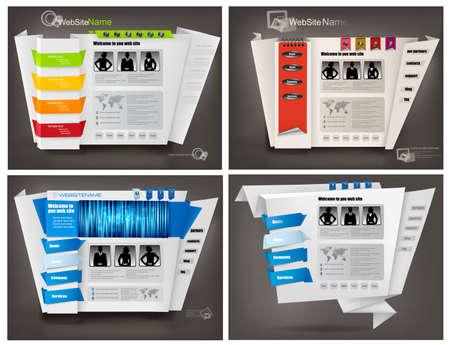 Set of business website design templates. Vector illustration. Stock Vector - 11271431