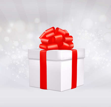 red gift box: Christmas background with gift box with red bow. Vector illustration.