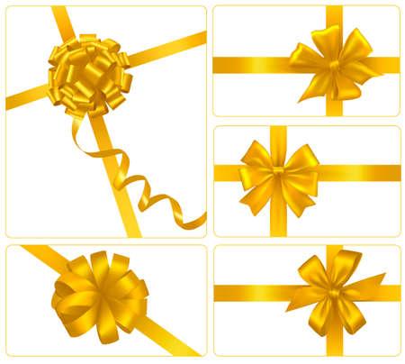 ruban or: Ensemble de boucles pour cadeaux avec des rubans d'or. Vecteur.
