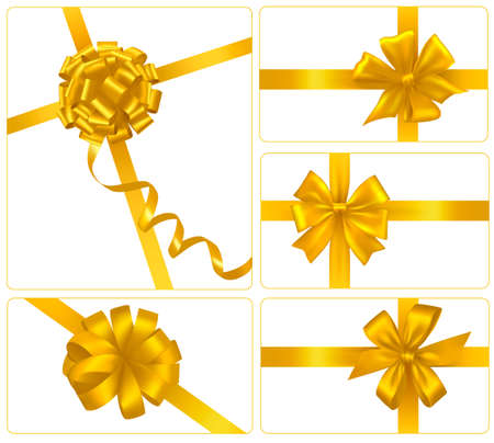 Set of gold gift bows with ribbons. Vector.  Ilustracja