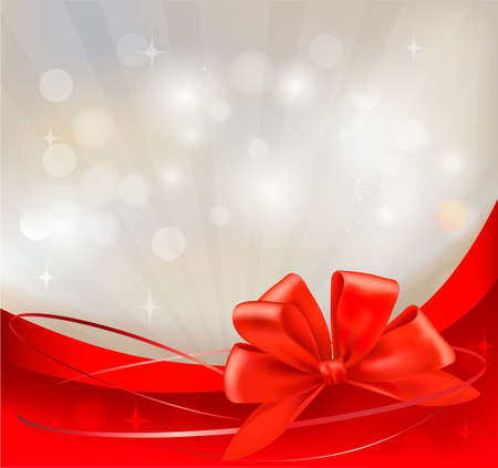 ribbons vector: Background with red bow and ribbons. Vector illustration.