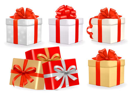present: Set of colorful vector gift boxes with bows and ribbons.