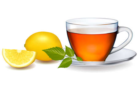lemon water: Cup of tea with leaves with lemon. Vector illustration.  Illustration