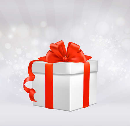 Red gift box with red ribbons. Vector illustration.  Vector