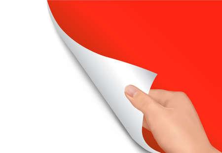 hoja en blanco: Hoja de papel con la mano. Ilustraci�n del vector.