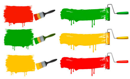 interior designer: Paint brush and paint roller and paint banners. vector illustration.