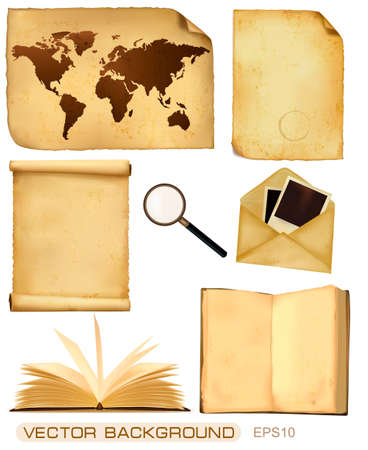 enveloppe ancienne: Set de feuilles de papier vieux et vieille carte. Vecteur