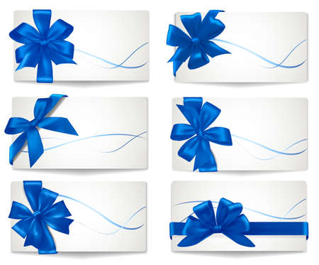 Big set of blue gift bows with ribbons. Vector. Ilustracja