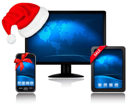 Christmas monitor with Santa hat and Tablet Compute and mobile phone with ribbons. Vector. Vector