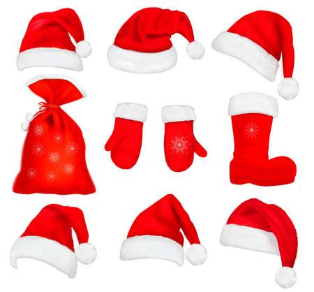 winter hat: Big set of red santa hats and clothing. Vector illustration.