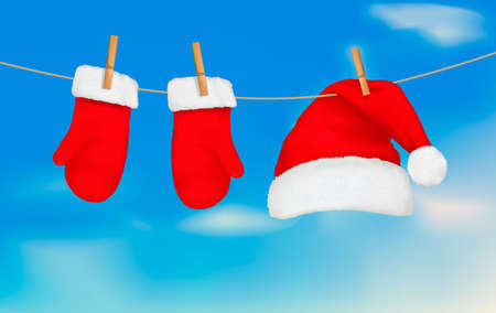 Santa hat and mittens hanging. Christmas background.Vector illustration Vector