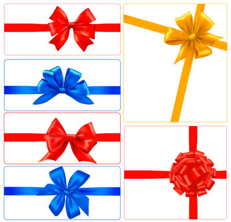 Set of colorful gift bows with ribbons. Vector. Vector